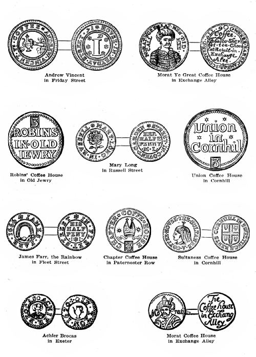 PLATE 1—COFFEE-HOUSE KEEPERS' TOKENS OF THE 17TH CENTURY