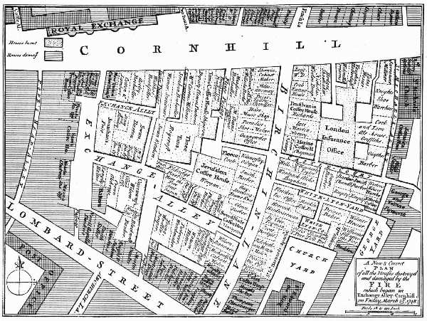 MAP SHOWING THE LOCATION OF MANY OF THE OLD LONDON COFFEE HOUSES PREVIOUS TO THE FIRE OF 1748